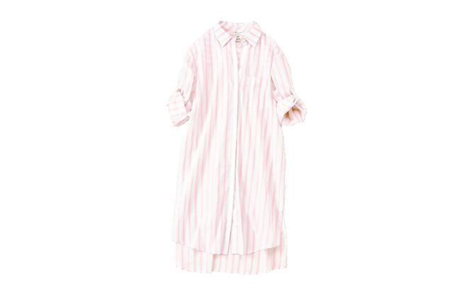 【プレゼント】ジェラートピケ「ストライプガーゼシャツドレス」【1名様】